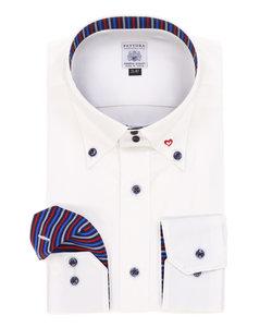 【大きいサイズのメンズ服・グランバック】FATTURA 日本製綿100%ドゥエボタンダウン襟刺しゅうビジネスドレス長袖シャツ