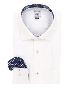 【大きいサイズのメンズ服・グランバック】FATTURA 日本製綿100%ドット張替セミワイドカラービジネスドレス長袖シャツ