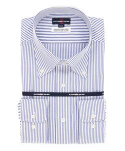 【大きいサイズのメンズ服・グランバック】ALEXANDER JULIAN 綿100%100双形態安定(ノーアイロン)ストライプ柄テープ縫製ボタンダウンビジネスドレス長袖シャツ