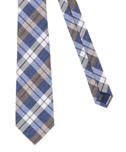 【大きいサイズのメンズ服・グランバック】アレキサンダージュリアン/ALEXANDER JULIAN 日本製シルクリネンチェック柄ネクタイ 8.5cm幅