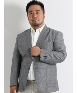 【大きいサイズのメンズ服・グランバック】綿麻ピンチェックジャケット