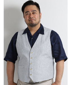 【大きいサイズのメンズ服・グランバック】フレンチリネンストライプベスト