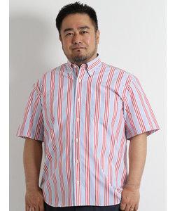 【大きいサイズのメンズ服・グランバック】ストライプ半袖ボタンダウンシャツ