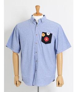 【大きいサイズのメンズ服・グランバック】オックス花プリントポケット半袖ボタンダウンシャツ