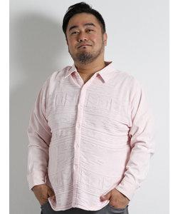 【大きいサイズのメンズ服・グランバック】Real Masters (リアル マスターズ) 前身硫化染ジャガードニット切替長袖シャツ