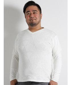 【大きいサイズのメンズ服・グランバック】Real Masters (リアル マスターズ) 前身硫化染ジャガードニット切替長袖Tシャツ