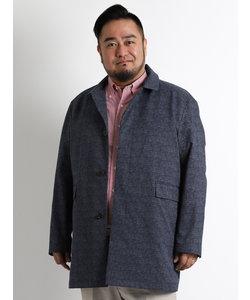 【大きいサイズ】COOLDOTS プリントフード付ステンカラーハーフコート