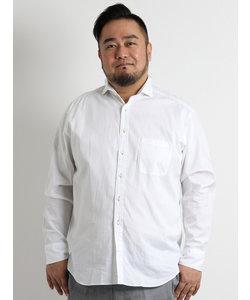【大きいサイズ】新疆綿カラーネップホリゾンタルカラーシャツ