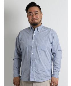 【大きいサイズ】新疆綿ストライプドットワンピースボタンダウンシャツ