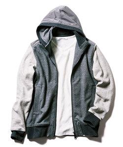 【大きいサイズ】INTERMEZZO (インターメッツォ)吊編み裏毛使いフルジップパーカー