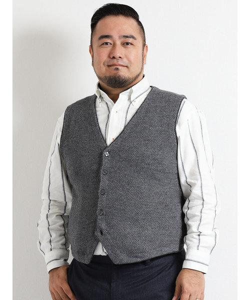 【大きいサイズ】紡毛地柄ニットジレ