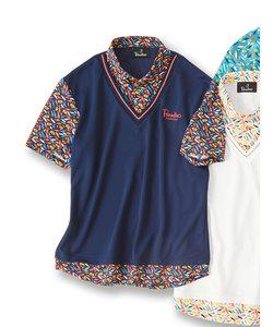 【大きいサイズ】パラディソ/Paradiso アンサンブル風プリント半袖ポロシャツ