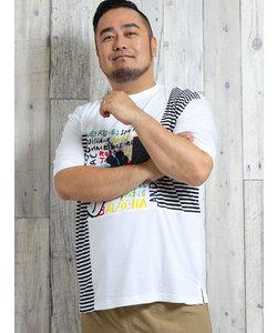 【大きいサイズ】カステルバジャック/CASTELBAJAC リヨセル綿切替ヘンリー半袖Tシャツ