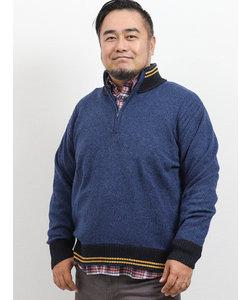 【大きいサイズ】グランバック/GRAND-BACK イタリアラム ハーフジップセーター