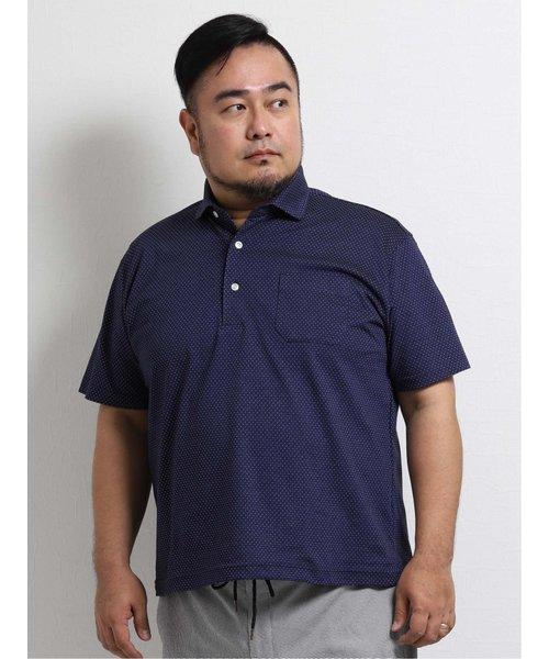 【大きいサイズ】グランバック/GRAND-BACK リネン混ドット柄半袖ポロシャツ