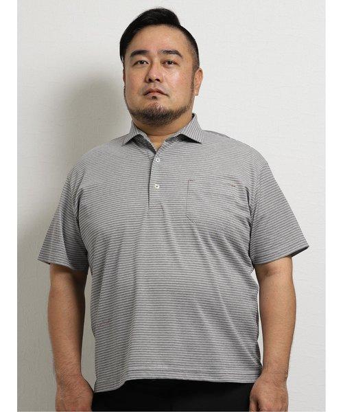 【大きいサイズ】グランバック/GRAND-BACK 和紙混メランジボーダー半袖ポロ