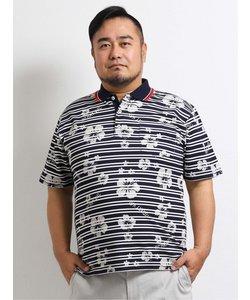 【大きいサイズ】ヘンリーバル/HENRY VAL 鹿の子総柄転写プリント半袖ポロシャツ
