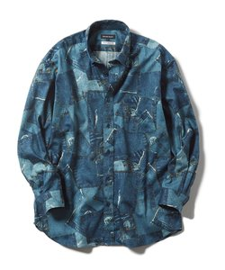 【大きいサイズ】グランバック/GRAND-BACK デニム風花柄プリント カッタウェイ袖シャツ