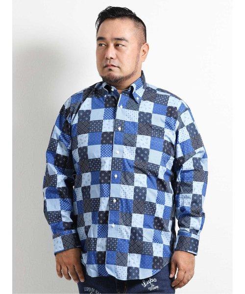 【大きいサイズ】グランバック/GRAND-BACK チェック柄ボタンダウン長袖シャツ