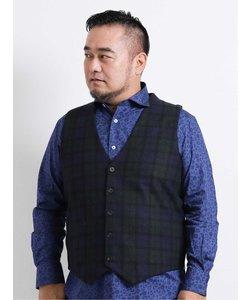 【大きいサイズ】グランバック/GRAND-BACK ニットX布帛ブラックウォッチ ジレ