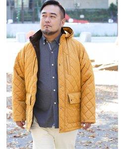 【大きいサイズ】グランバック/GRAND-BACK フード脱着キルトハーフコート