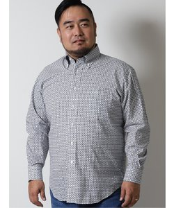 【大きいサイズ】グランバック/GRAND-BACK 小紋柄ボタンダウン長袖シャツ