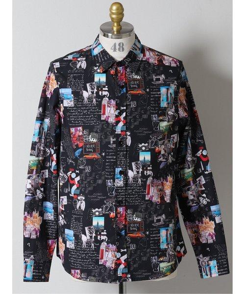 【大きいサイズ】デシグアル/Desigual 総柄 カッタウェイ長袖シャツ