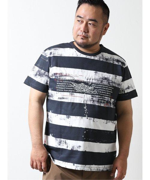 【大きいサイズ】デシグアル/Desigual ボーダーダメージ 半袖Tシャツ