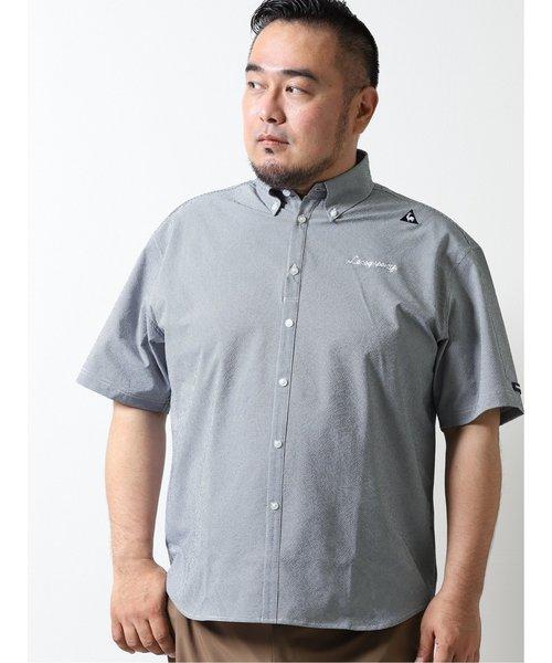 【大きいサイズ】ルコックスポルティフ ゴルフ/le coq sportif GOLF ミニギンガム柄布帛半袖シャツ