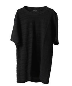【大きいサイズ】グランバック/GRAND-BACK リップルボーダー クルーネック半袖Tシャツ