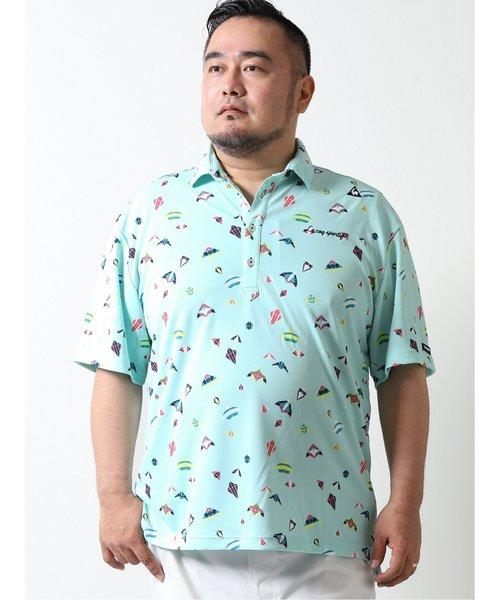 【大きいサイズ】ルコックスポルティフ ゴルフ/le coq sportif GOLF マルチカイト柄 半袖ポロシャツ