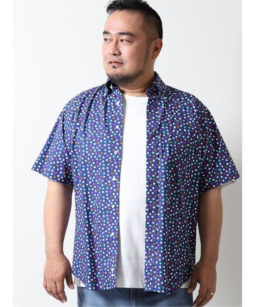 【大きいサイズ】グランバック/GRAND-BACK ストレッチ水玉柄 ボタンダウン半袖シャツ
