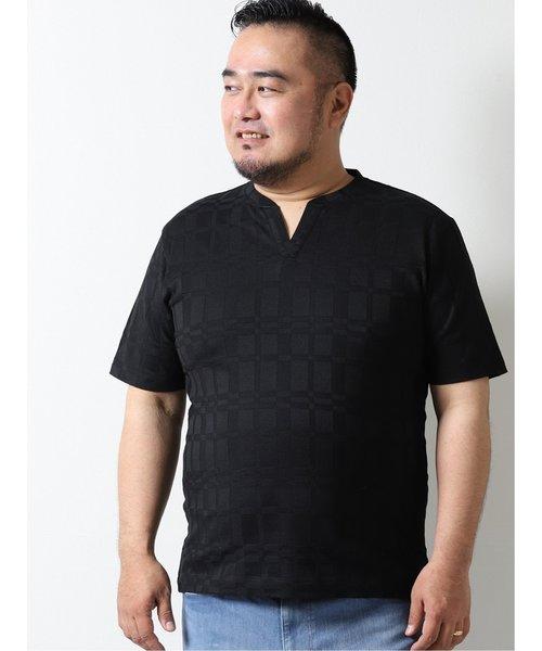 【大きいサイズ】グランバック/GRAND-BACK リンクスチェック スキッパー半袖Tシャツ