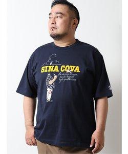 【大きいサイズ】シナコバ/SINA COVA プリント クルーネック半袖Tシャツ