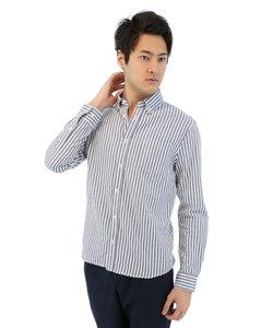 パナマストライプ柄ボタンダウンシャツ