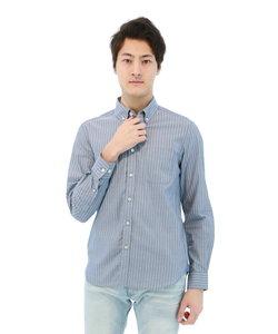 インディゴ調ストライプ柄ボタンダウンシャツ