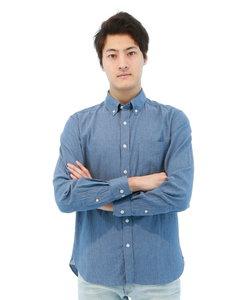 インディゴ無地ボタンダウンシャツ