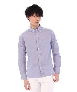 ブロードストライプ柄ボタンダウンシャツ