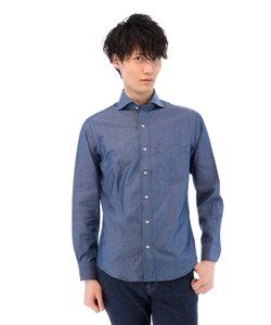シャンブレーワイドカラーシャツ