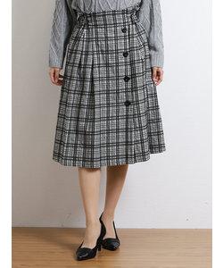 格子柄ボタン使いラップ風Aラインスカート