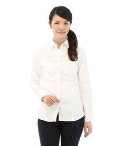 形態安定アンルース付きレギュラーカラーギャザーシャツ