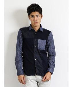 起毛異素材切替レギュラーカラー長袖シャツ