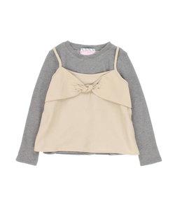 ガヤガール/gaya girl アンサンブル(リボンキャミソール&ワッフル長袖Tシャツ)