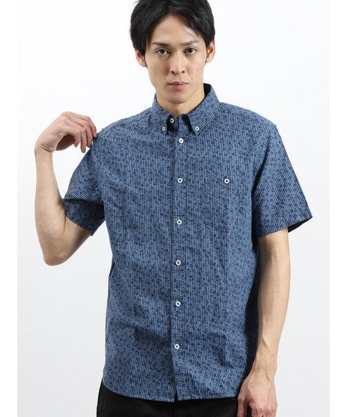 フレンチリネン混ストライプ×小花 半袖シャツ