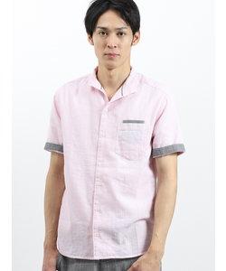 COOLMAXフレンチリネン混イタリアンカラー衿ワイヤー半袖シャツ