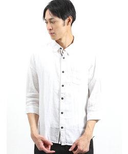 フレンチリネン混パナマ レギュラーカラー7分袖シャツ