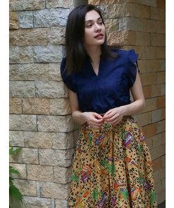 裾スカラップ刺繍フリル袖プルオーバーブラウス