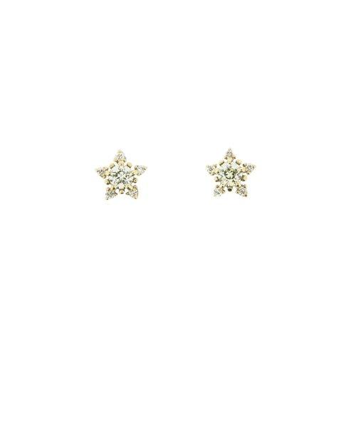 K10イエローゴールド Wish upon a starダイヤモンド ピアス