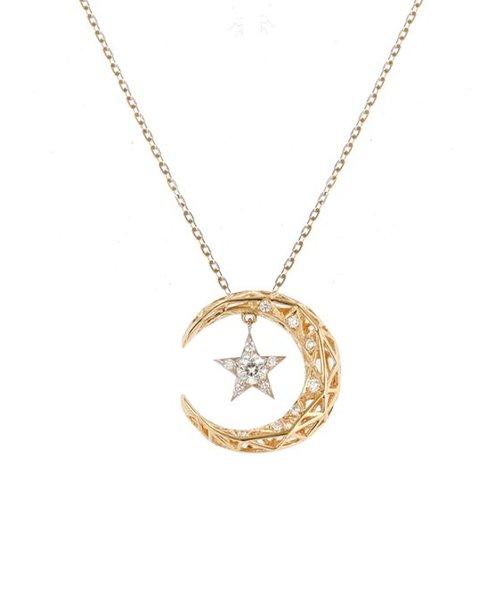 【Wish upon a star】K18イエローゴールド/Pt900 ダイヤモンド ネックレス