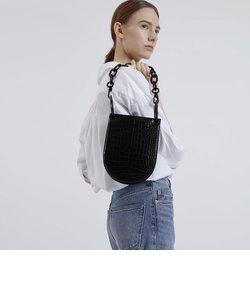 クロックエフェクト チャンキーチェーンハンドルバッグ / Croc-Effect Chunky Chain Handle Bag